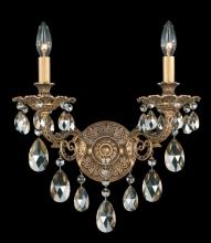 Schonbek 5642-80O - Milano 2 Light 110V Wall Sconce in Roman Silver with Clear Optic Crystal