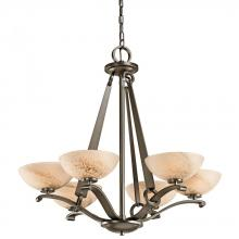 Kichler 42355SWZ - Six Light Shadow Bronze Up Chandelier