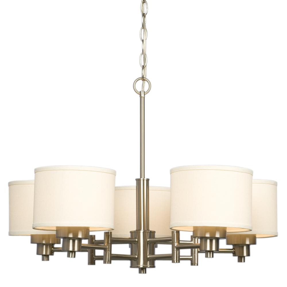 5 light chandelier brushed nickel with ivory white linen shades 5 light chandelier brushed nickel with ivory white linen shades aloadofball Image collections
