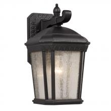 Galaxy Lighting 320270BK - 1-Light Outdoor Wall Mount Lantern - Black with Clear Seeded Glass