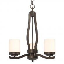 Galaxy Lighting 810451BDX - Three Light Chandelier - Bordeaux with White Glass