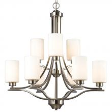 Galaxy Lighting 818736BN - 9-Light 2-Tier Chandelier in Brushed Nickel with Satin White Glass