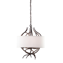 Steven & Chris SC764 - Six Light Rich White Oatmeal Hardback Shade Drum Shade Chandelier